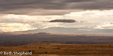 Mt Aragats under clouds