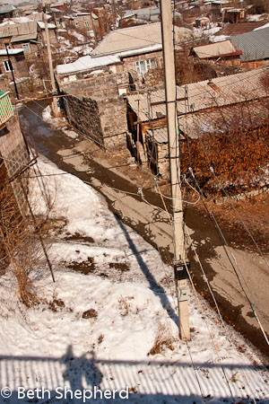 Gyumri shadows on winter bridge, Armenia