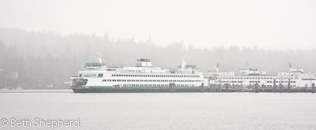 Seattle ferries in the mist