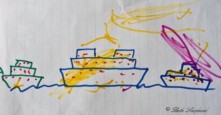 Christmas ships drawing