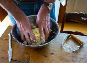 Apple pie making dough
