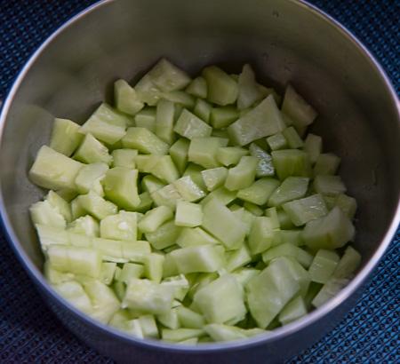 Armenian cucumber cut