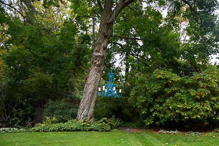 Blue garden chandelier
