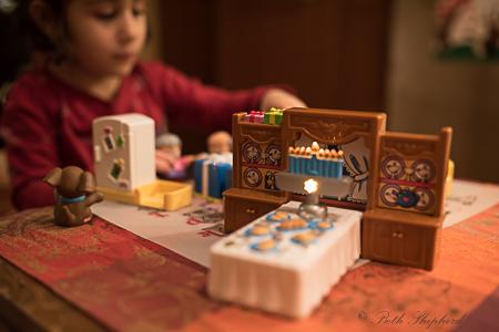 Little People Hanukkah set table and menorah Seattle Goodwill