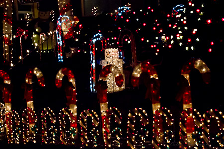 Snowman and candycane lights