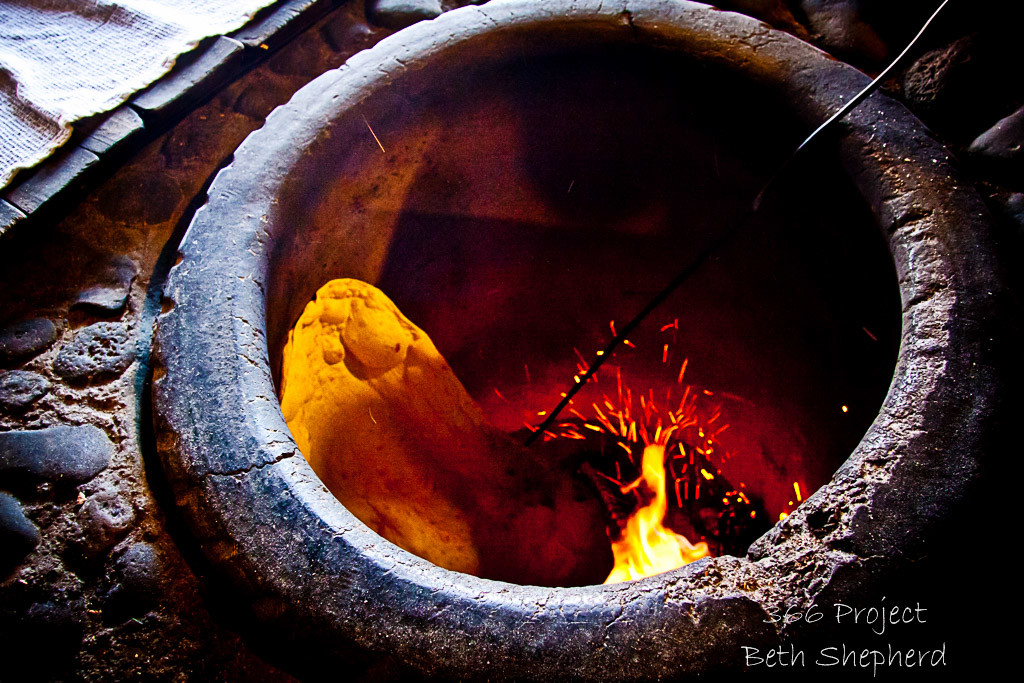 lavash in tonir (clay oven)