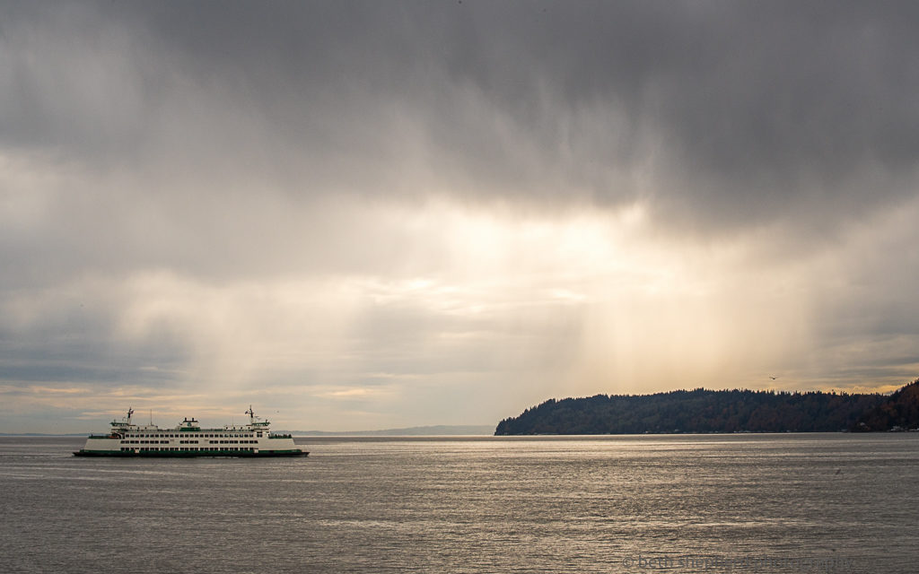 ferry and rainstorm