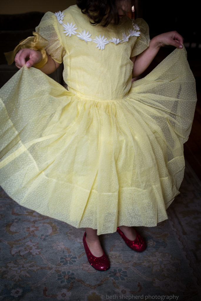 daughter in yellow dress