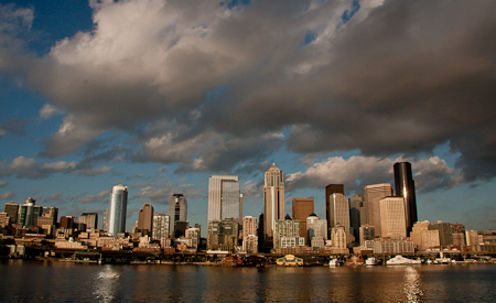 Dramatic clouds over downtown Seattle