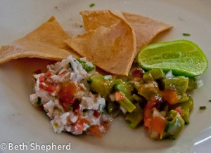 Ceviche and nopale salad