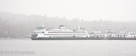 Seattle ferries in the mist