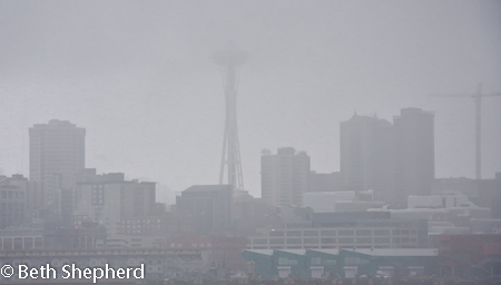 Seattke Space Needle in the mist