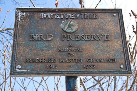 Fayetteville Bird Preserve sign