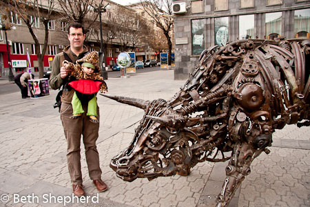 Checking out the metal bull in Yerevan