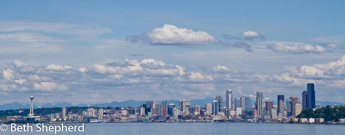 Seattle skyline from the Seattle ferry on Puget Sound