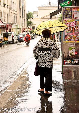 Yellow umbrella in Paris