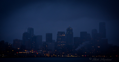 Seattle from Puget Sound at night on the ferry