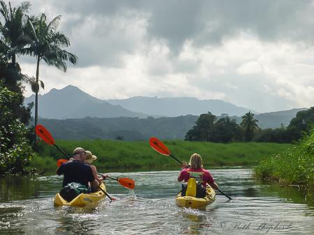 Kayak Kauai paddling companions at Hanalei River