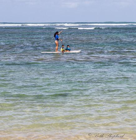 SUP mom and kids on Kauai
