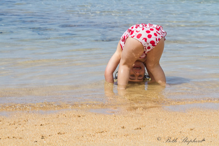 Upside down at Anini Beach