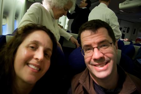 Happy on plane