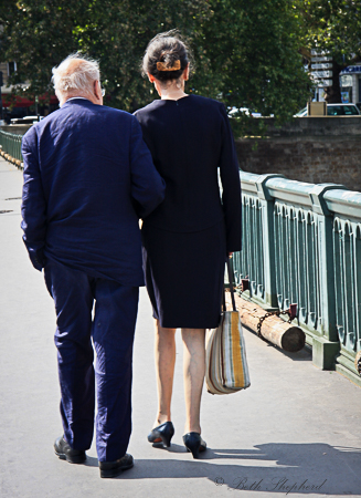 Couple in blue from behind