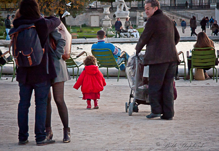 Girl in red from behind