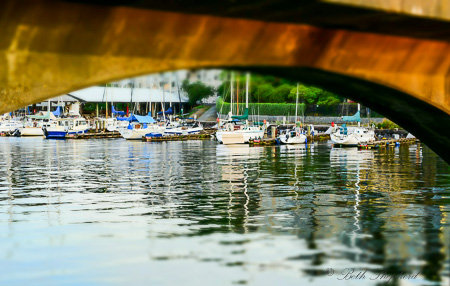 Ballard Locks Bridge and boat view