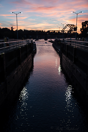 Sunset at Ballard Locks