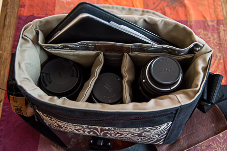 Three lenses and Kindle in a Porteen bag