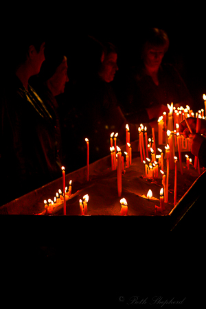 Armenians at church with candles