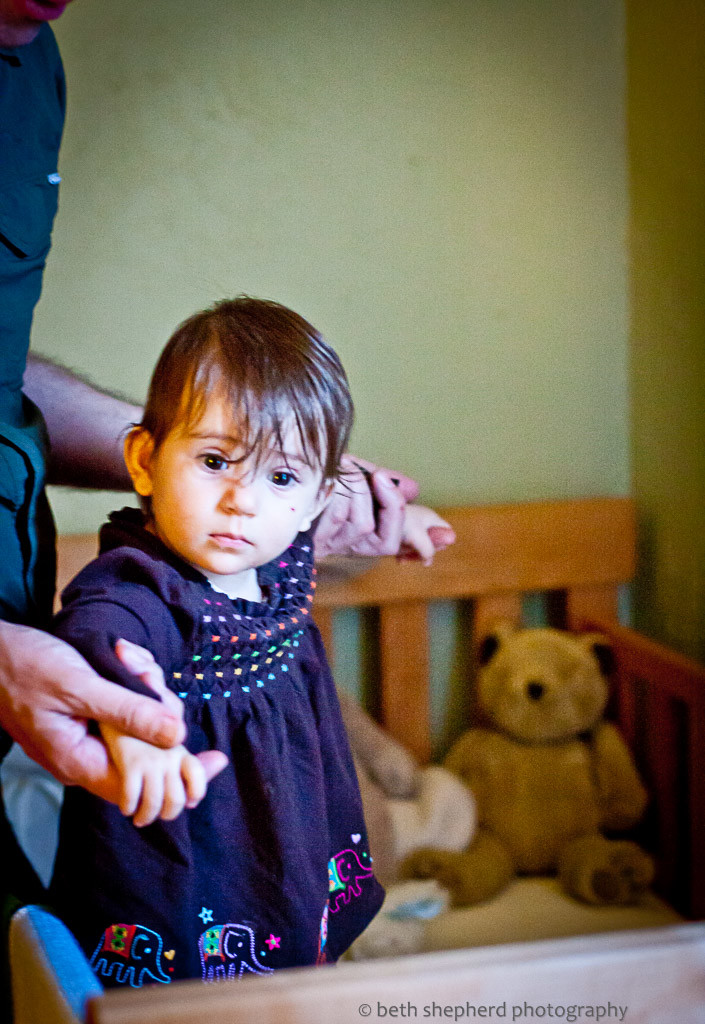 Daughter seeing crib